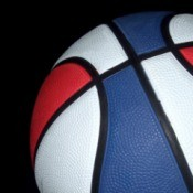 red white and blue basketball