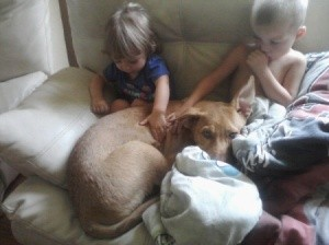 Kids with the dog.