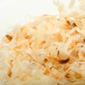 Toasted coconut made in the microwave.