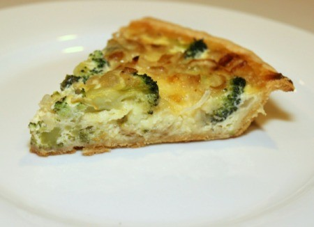 cheddar and broccoli quiche slice