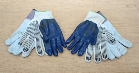 gloves on table