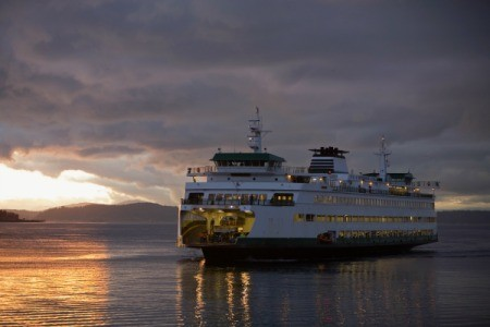 Washington State Ferry at Sunset