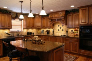 Kitchen with lights on.