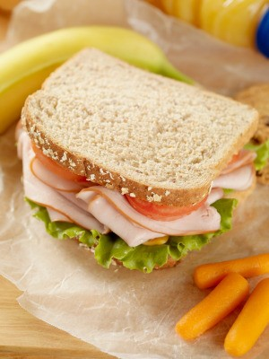 Sandwich with a packed lunch.
