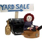 Items for sale at a yard sale.