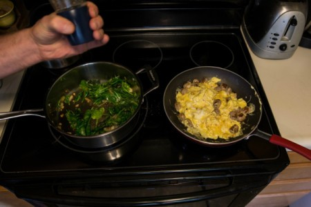 Slow-Carb Scrambled Eggs, Greens and Sausage
