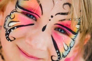 Girl with face paint.