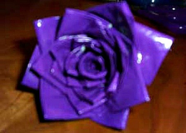 Duct Tape Rose - purple tape rose