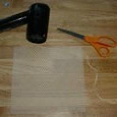 Supplies: hair drier, scissors, and beeswax sheet.