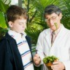 Teacher with Student in a Botanical Garden