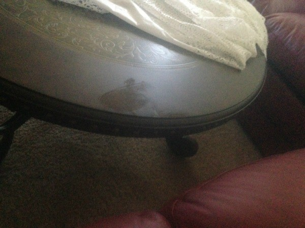 Table with damaged finish. Fixing a Wood Table With a Nail Polish Remover Stain   ThriftyFun