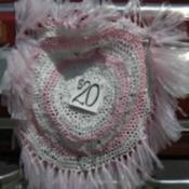 pink and white bag rug