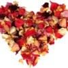 Dried rose pedals in the shape of a heart.