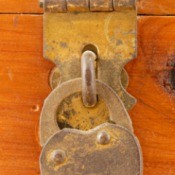 Close up of a lock on a cedar chest.