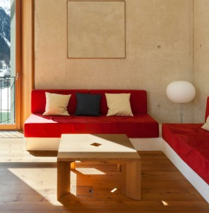 Small living room with two red sofas and a wood coffee table.