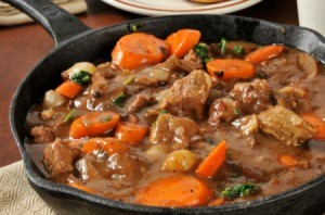 A large pot of beef stew.