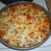 Baked Spaghetti Pizza Pie: Fresh out of the oven.