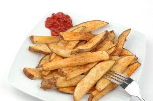 A plate of homemade French fries.