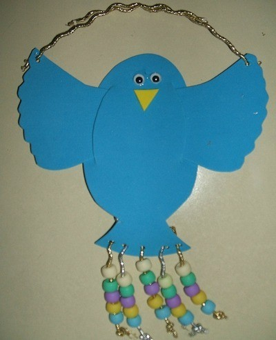 Foam hanging blue bird.