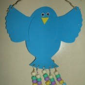 Foam hanging blue bird.