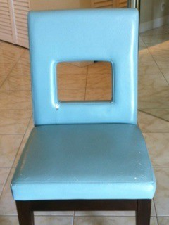 Blue upholstered chair.