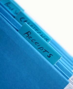 Blue file folders.
