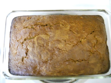 Pan of baked bread.