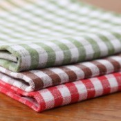 Red Brown and Red gingham dish towels