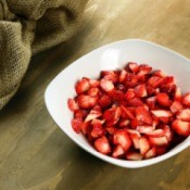 Sliced Strawberries in a Bowl.