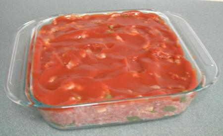 Meatloaf in Pryex dish.