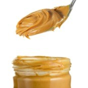 Peanut butter jar and spoon.