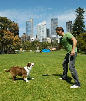 A man playing frisbee with his dog.