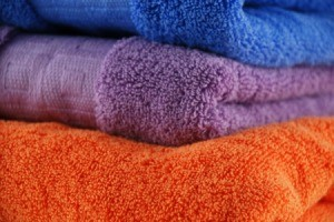 Stack of colorful towels.