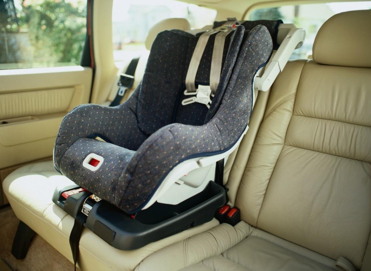 A car seat in a car.