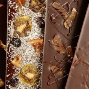 Handmade Chocolate Bars with dried fruit.