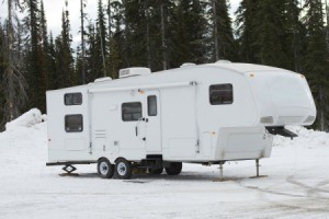 Travel trailer in the snow.