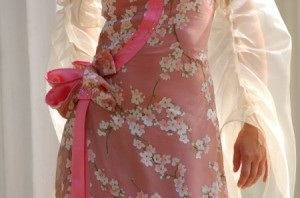 A beautiful floral chiffon dress.
