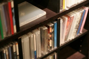 Cd rack filled with cds