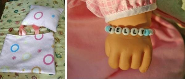Name bracelet, diaper bag, and pillow.