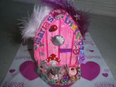 Handmade Fairy Doors - Small pink decorated door.