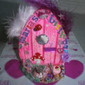 Handmade Fairy Doors - Small pink decorated door.