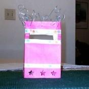 Pink paper bag lantern.