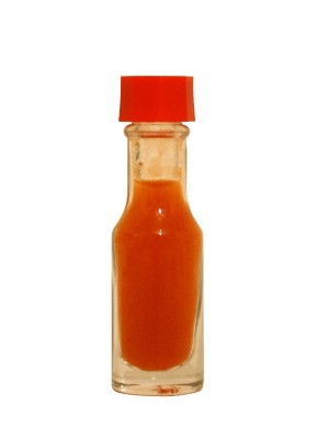 Bottle of red hot sauce.