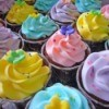 Rainbow cupcakes at a rainbow tea party.