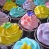 Rainbow cupcakes at a rainbow tea party.