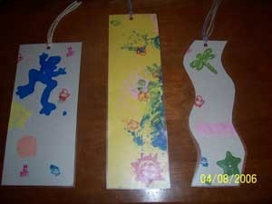 Stamped bookmarks.