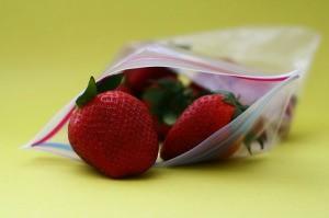 Freezer bag full of strawberries.