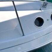 Photo of a white fiberglass boat.