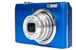 Blue digital camera.