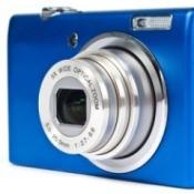 Blue digital camera.